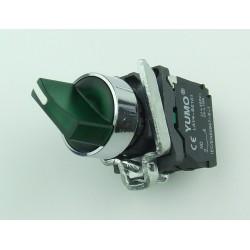 Przełącznik piórkowy 2 pozycyjny stabilny zielony podświetlany 24V