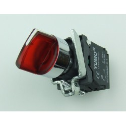 Przełącznik piórkowy 3 pozycyjny stabilny czerwony podświetlany 230V